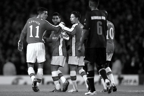 Cesc Fabregas, Samir Nasri, Robin van Persie. Arsenal v. AZ Alkmaar. Champions League 2009. Arsenal v. AZ Alkmaar. Champions League 2009. Photo credit: Phil Cole/Getty Images Europe.